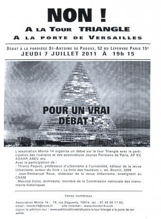 """""""Tour Triangle"""" à Paris 15e, un autre débat le 7 juillet 2011"""